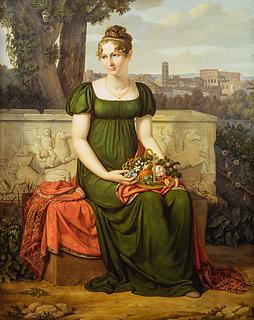 J.L. Lund: Portræt af Ida Brun med udsigt til Rom i baggrunden