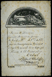 Subscription contribution receipt dated July 28, 1819, with an early sketch of the Lion monument
