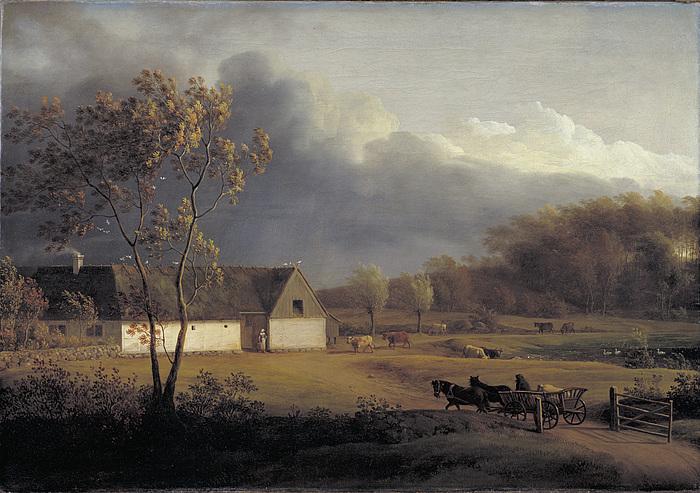 Jens Juel: Landskab med en bondegård, Eigaard ved Ordrup, under optrækkende uvejr, 1790'erne