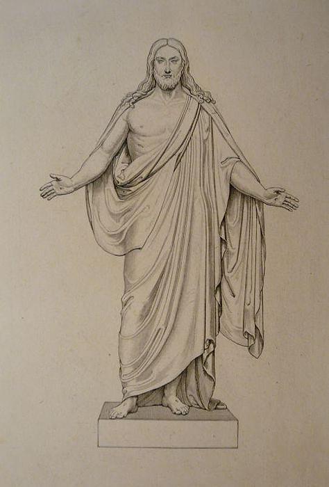 Ferdinand Ruscheweyh, Bertel Thorvaldsens Kristus, efter 1821, før 1824, kobberstik