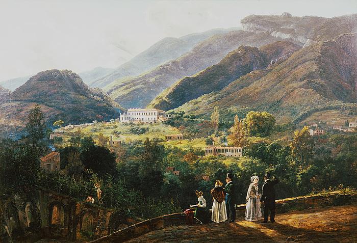 J.C. Dahl: Landskab med Quisisana og det kongelige selskab, 1820