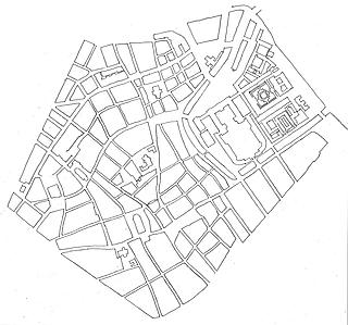 Forslag til Nybros placering i forhold til Indre Bys gadenet