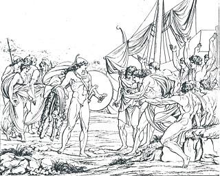A. J. Carstens (Radering udført af Joseph Anton Koch): Jason med det gyldne skind, 1797 - Copyright tilhører Statens Museum for Kunst