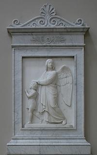 Bertel Thorvaldsen: Barnets skytsengel, 1838, marmor, Vor Frue Kirke
