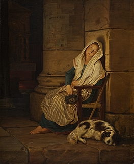 Philipp Foltz: Schlafende Bettlerin am Eingang einer römischen Kirche, 1836 - Copyright gehört Thorvaldsens Museum