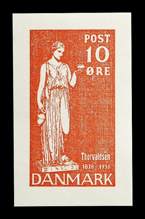 Prøvetryk af udkast til et dansk frimærke med Thorvaldsens Hebe