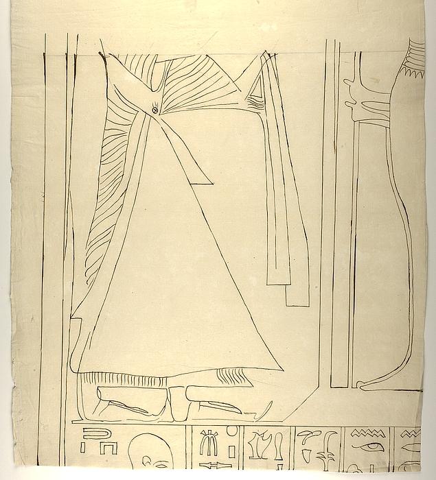 Motiv med figurer og hieroglyffer, midterste venstre parti