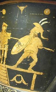 Komisk skuespiller i rollen som krigsguden Ares, her kaldet Eneyalios - Copyright tilhører Helle Salskov Roberts