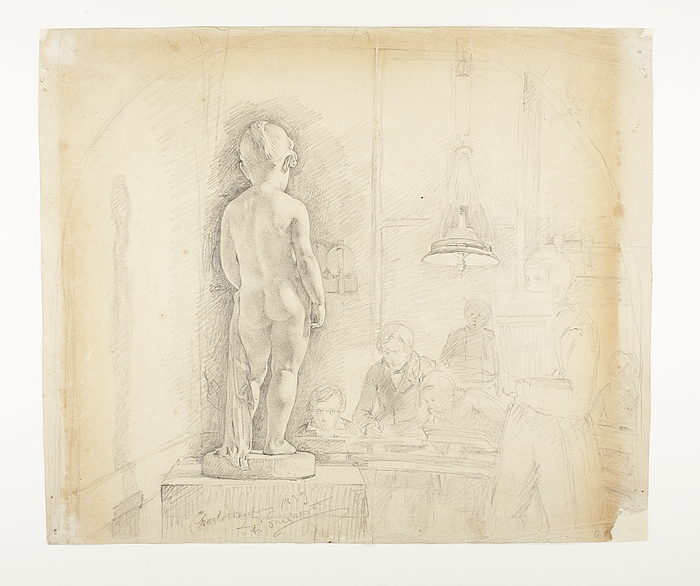 Elever ved det Kongelige danske Kunstakademi tegner efter Thorvaldsens statue af Georgiana Elizabeth Russel