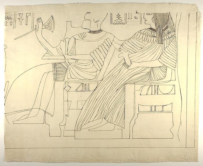 Motiv med figurer og hieroglyffer, nederste højre parti