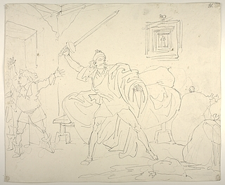 Don Quixote som i søvne tror at han slås med kæmpen Pandafilando