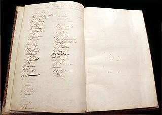 Thorvaldsens signatur ved stiftelsen af Skandinavisk Forening i Rom, 28.1.1833.
