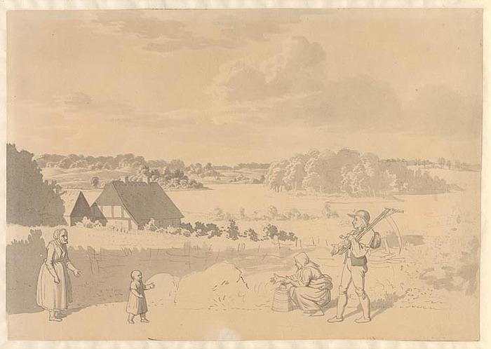 C.W. Eckersberg: Landskab med bønder.