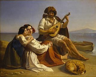 August Heinrich Riedel: Neapolitanishe Fischerfamilie am Strand, 1833 - Copyright gehört Thorvaldsens Museum