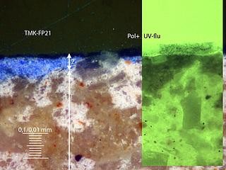 Tværsnit af prøve udtaget fra farvespor på kanalfacadens kordongesims.
