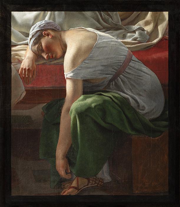 En sovende kvinde i antik dragt, Alkyones amme