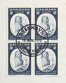 Førstedagskuvert med en firblok af Thorvaldsen-frimærket udgivet på billedhuggerens 200-års fødselsdag, 19.11.1970
