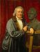 Portræt af Thorvaldsen med Adam Oehlenschlägers buste