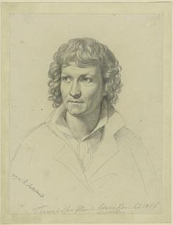 Rudolph Suhrlandt: Thorvaldsen, 1816, blyant på gulligt papir, 25,5 x 19,2 cm, Kupferstichkabinett der Staatlichen Museen zu Berlin - Preußischer Kulturbesitz