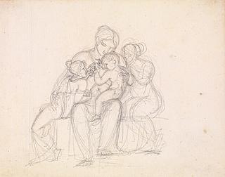 J.L. Lund: Figurengruppe. Frau und drei Kinder, o. J., Bleistift, 186 x 239 mm, Kupferstichsammlung, Statens Museum for Kunst, KKSgb15192