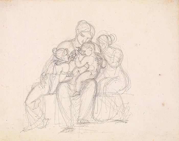 J.L. Lund: Figurgruppe. Kvinde og tre børn