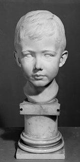 Ludvig Brandstrup: Mario Krohn som barn, ca. 1888, marmor, 30 cm, Statens Museum for Kunst inv.nr. KMS5303a