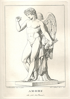 Amor holder en sommerfugl for at såre den med en pil, statue, marmor, ukendt opholdssted