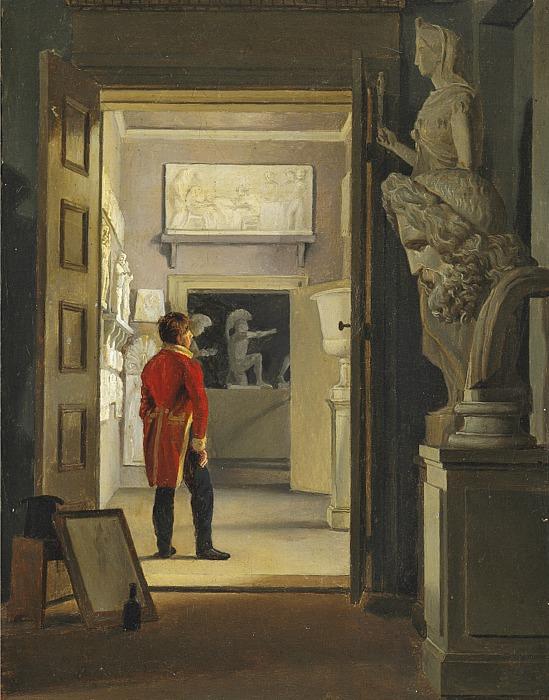 Adam Müller: Parti af Antiksalen på Charlottenborg, 1830