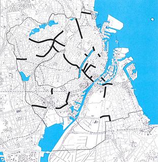 Lastbiltrafik. Gader med mere end 2.000 lastbiler (over 3,5 t totalvægt) pr. hverdagsdøgn i 1995 og mere end 5 boliger pr. 100 m. Trafik- og Miljøplan for København, 1997