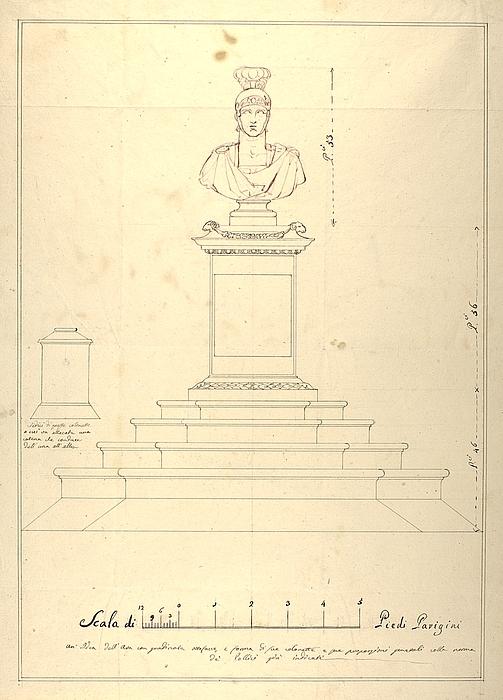 Monument med romersk krigerbuste, udkast til opstalt