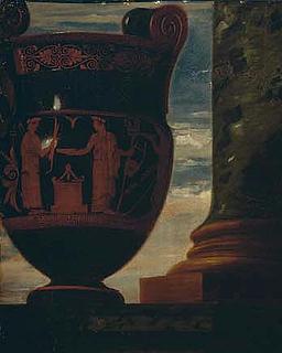 Udsnit af J.S. Copley: Mr. and Mrs. Ralph Izard. Attisk rødfiguret volutekrater fra ca. 450 f.Kr. Figurdekorationen gengiver guddommene Artemis og Apollon ved et alter.