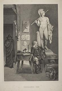 Thomas Hope træder ind i Thorvaldsens atelier for at købe Jason