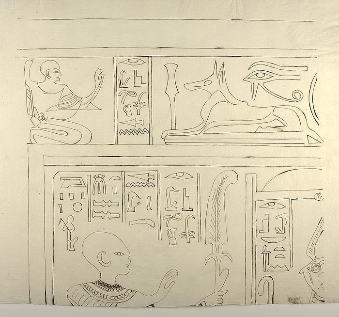 Motiv med figurer og hieroglyffer, øverste venstre parti