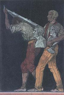 To arbejdere med et relief og busterne af Adam og Stampe - Copyright tilhører Thorvaldsens Museum