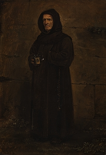 En franciskanermunk med en tiggerskål