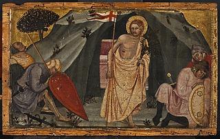 Opstandelsen fra predella med fremstillinger af Maria Magdalena, Kristus i Gethsemane, Korsfæstelsen, Opstandelsen og Sankt Catharina