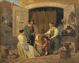 Roman Peasants Buying a Hat for Their Little Son, Who is to Be an Abbate