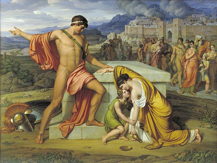 J.L. Lund: Pyrrhus og Andromache ved Hectors grav