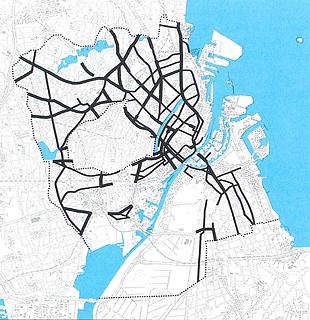 Trafikkens barriereeffekt. Tykke streger - Stor barriereeffekt. Tyndere streger - Moderat barriereeffekt Trafik- og Miljøplan for København, 1997.
