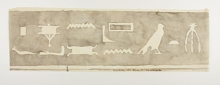 Hieroglyfindskrift, første brudstykke fra bagsidens højre side