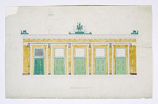 Michael Gottlieb Bindesbøll: Opstalt af Thorvaldsens Museums sydvestlige facade, formodentlig 1840rne - Copyright tilhører Danmarks Kunstbibliotek
