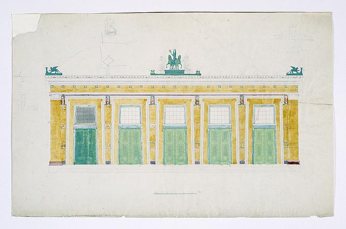 Michael Gottlieb Bindesbøll: Opstalt af Thorvaldsens Museums sydvestlige facade, formodentlig 1840rne