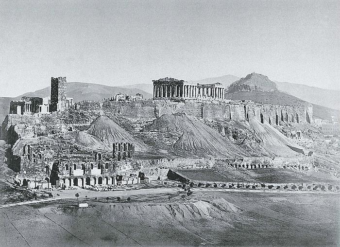 Dimitrios Constantinou: Akropolis set fra Mousein højen, i baggrunden Lykabettos, 1863-67