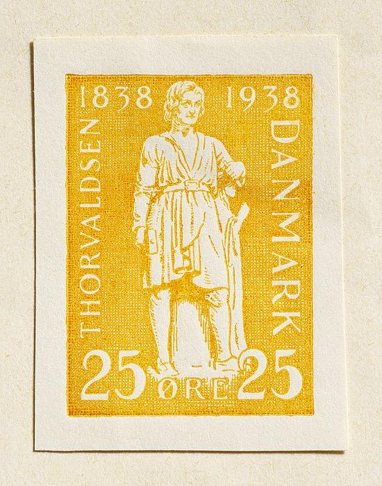 Prøvetryk af udkast til frimærke med Thorvaldsens selvportrætstatue