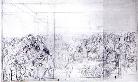 Karl Philipp Fohr: Udkast til et maleri af Caffe Greco