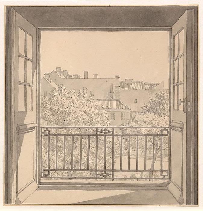 C.W. Eckersberg, Udsigt fra Kuppelsalen på Charlottenborg over botanisk have, 1845, SMK