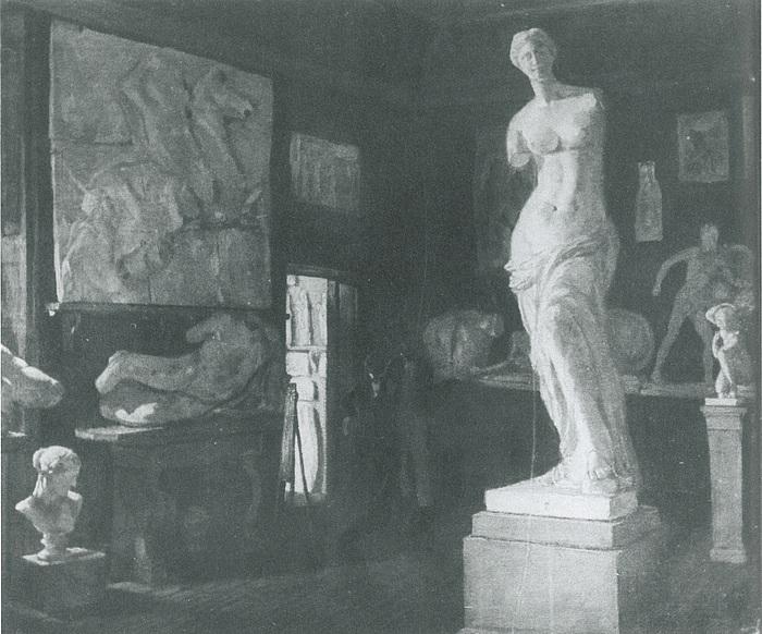 Ubekendt kunstner, Antiksalens søndre hjørnekabinet med Venus fra Milo, 1840?