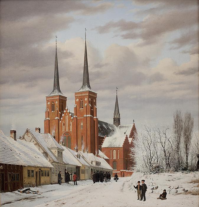 En gade i Roskilde. I baggrunden domkirken.