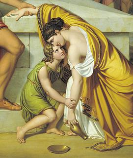 J.L. Lund: Pyrrhus und Andromache an Hektors Grab, 1807-1811, Öl auf Leinwand, 230 x 303,5 cm, Statens Museum for Kunst, Kopenhagen, Detail