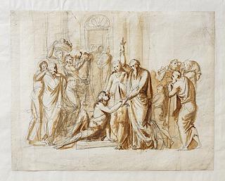 Bertel Thorvaldsen: Peter og Johannes helbreder en halt foran templet port, 1793, Copyright tilhører Thorvaldsens Museum